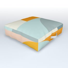 Summer Evening Geometric Shapes in Soft Blue and Orange Outdoor Floor Cushion