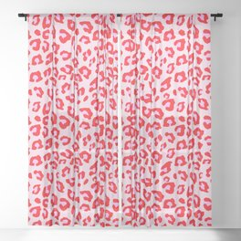 Leopard Print - Red And Pink Sheer Curtain