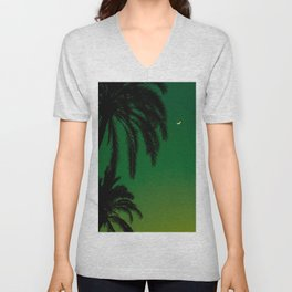 Tropical Palm Tree Silhouette Green Ombre Sunset Crescent Moon At Night Unisex V-Neck