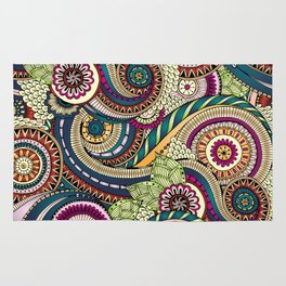 Abstract doodle floral pattern Rug