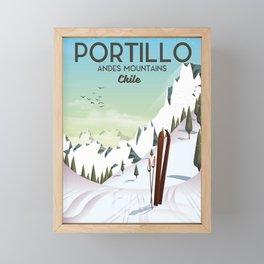 Portillo Ski Chile Ski travel poster. Framed Mini Art Print