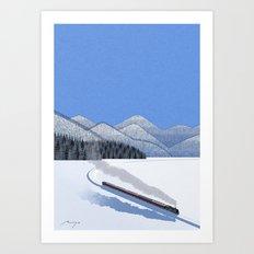Steam locomotive in the snow Art Print