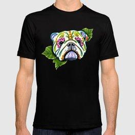 English Bulldog - Day of the Dead Sugar Skull Dog T-shirt