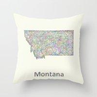 montana Throw Pillows featuring Montana map by David Zydd