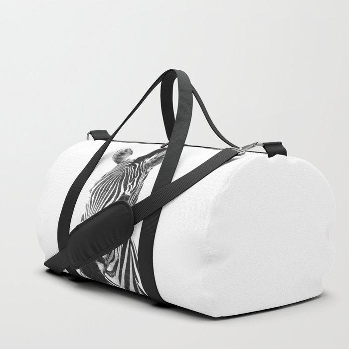 Black and white zebra illustration Duffle Bag