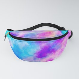 Modern hand painted neon pink teal abstract watercolor Fanny Pack