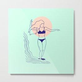 """""""Dancing on Waves"""" Surfer Girl Metal Print"""