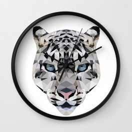 Low poly snow leopard Wall Clock