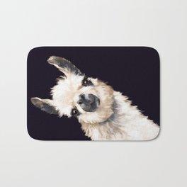 Sneaky Llama in Black Bath Mat