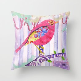 Pink Pearls And Florals Bird Throw Pillow