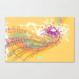 Retro Rainbow and Music Notes Exploding on a Yellow Background Canvas Print