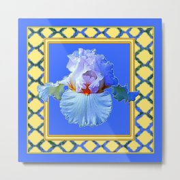 BLUISH-WHITE PASTEL IRIS FLOWER BOTANICAL ART Metal Print