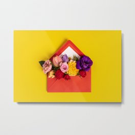 Opened red envelope with flowers arrangements on yellow background Metal Print