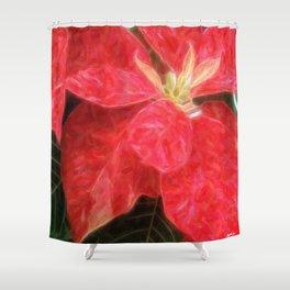 Mottled Red Poinsettia 1 Ephemeral Vivid Oil Shower Curtain