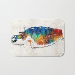 Colorful Sea Turtle By Sharon Cummings Bath Mat