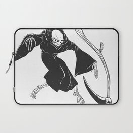 Grim reaper throwing sickle - black and white Laptop Sleeve