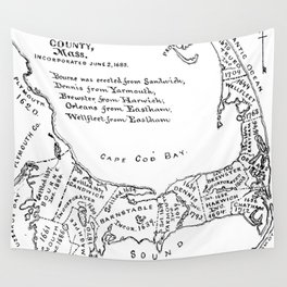 Vintage Map of Cape Cod (1890) Wall Tapestry