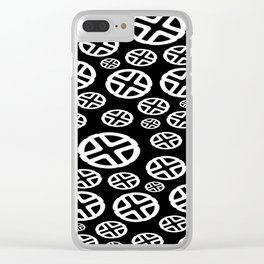 Scattered Circles - Black and White Pattern of Circles and Crosses Clear iPhone Case
