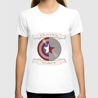 bucky barnes T-shirts featuring Steve Rogers and Bucky Barnes Shield by Mallory Anne