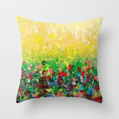 NATURE'S LIVING ROOM - Gorgeous Bright Bold Nature Wildflower Field Landscape Abstract Art New 2012 Throw Pillow