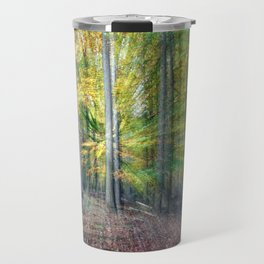 Abstract forest, intentionally blurred by zooming during exposure Travel Mug