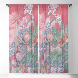 Ruby Red Floral Jungle Sheer Curtain