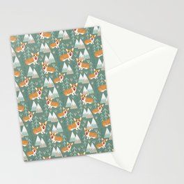 Corgis in the mountains Stationery Cards