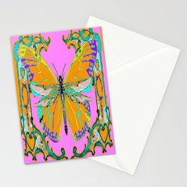 Gold Monarch Butterfly Dragonfly Morphing Pink Fantasy Abstract Stationery Cards