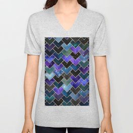 Galaxy and Rose Gold Geometric Tiles Unisex V-Neck
