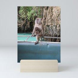 Monkeys   Boat   Rocky Terrain   Green Surrounding   Clear Water Mini Art Print