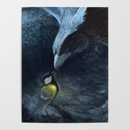 Eagle and tit bird Poster