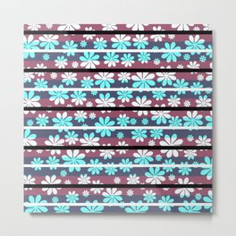 Pretty flowers in stripes Metal Print