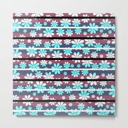 Pretty flowers in stripes Metal Print