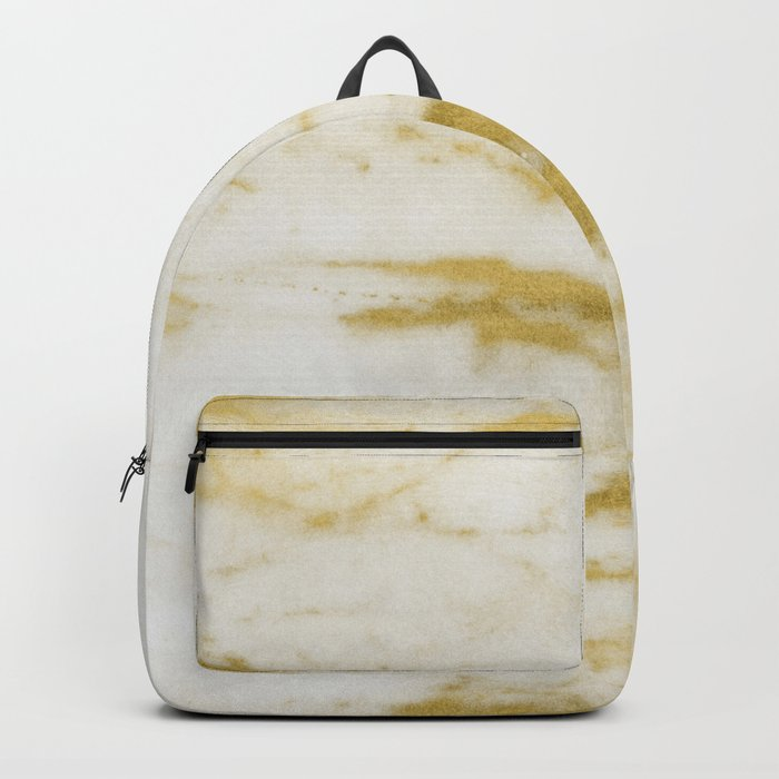 Marble - Shimmery Gold Marble and White Backpack