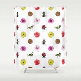 Bugs and Florals Shower Curtain