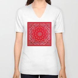 Paisley - Bandana Art - Red - Southwestern Unisex V-Neck