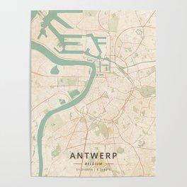 Antwerp, Belgium - Vintage Map Poster