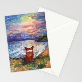 Corgi - sunset adorer Stationery Cards