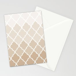 Pastel elegant brown cream quatrefoil pattern Stationery Cards