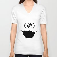 cookie monster V-neck T-shirts featuring Cookie monster by Komrod