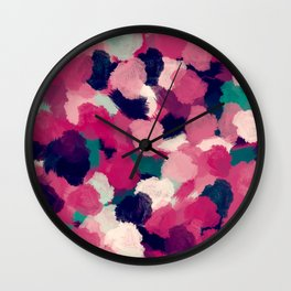 Fuchsia Abstract Paint Wall Clock