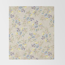 Vintage ivory linen blue yellow gold floral pattern Throw Blanket