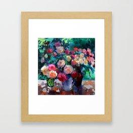 Flowers on The Garden Table Framed Art Print