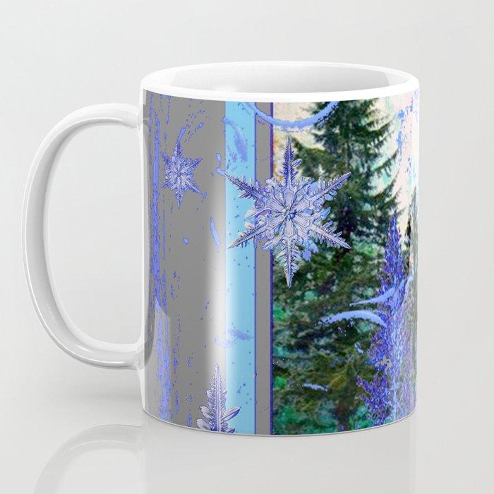 ORNATE BLUE-GREY WINTER SNOWFLAKES FOREST ART Coffee Mug