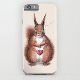 Squirrel heart love iPhone Case