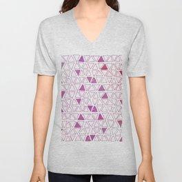 Tribal Triangles - Hot Pink Unisex V-Neck