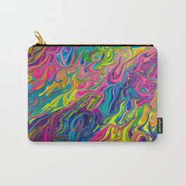 Lisa Frank Inspired Colorful Rainbow Paint Swirls Carry-All Pouch