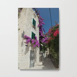 Bougainvilla Alley Metal Print
