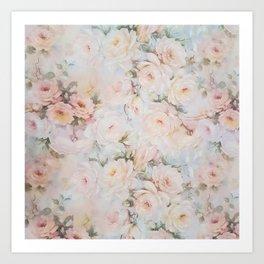 Vintage romantic blush pink ivory elegant rose floral Art Print