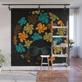 Afro Diva: Fall Colors Brown Gold Teal Wall Mural